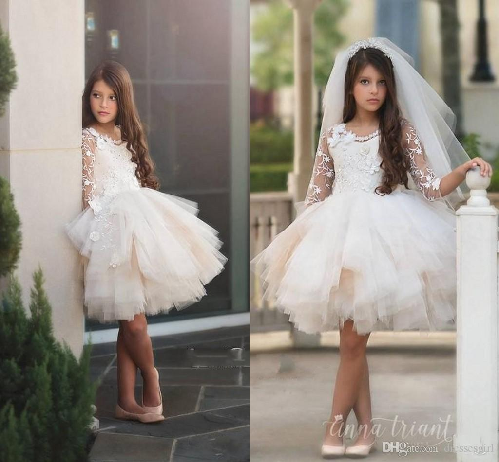a9c4df653 Stunning Tiered Tulle Skirts Flower Girl Dresses Floral Appliques Long  Sleeve Girls Junior Bridesmaid Dress Knee Length Kids Formal Wear Bridesmaid  Dresses ...