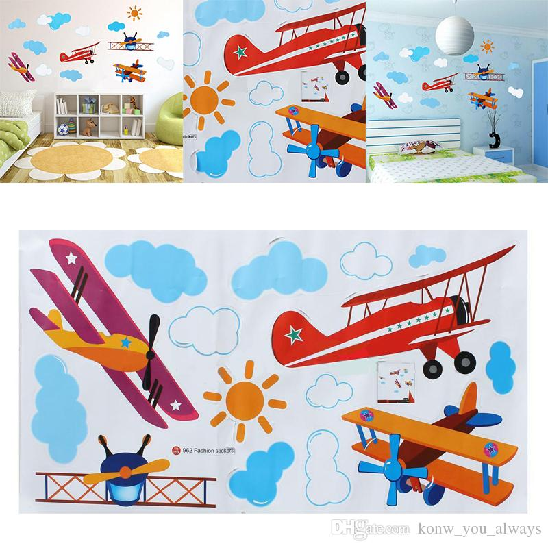 Cute Cartoon Airplane Sun Cloud DIY Wall Stickers Home Decor Blue Sky Theme Wallpaper/Gifts for Kids Room Decor Sticker