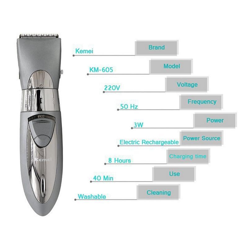 Kemei KM-605 профессиональный машинка для стрижки волос электрический триммер водонепроницаемый волос бритья машина борода электробритва