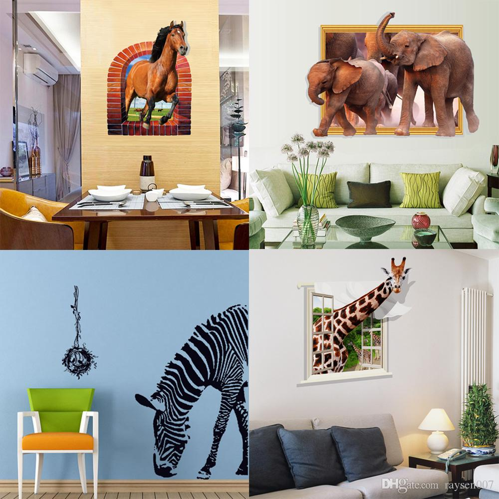 Mixed Style 3d Animal Wall Decals Stickers Zebra Horse Elephant Giraffe Wall  Stickers For Kinds Room Pvc Wall Art Murals Wallpaper Removable Wall  Stickers ...