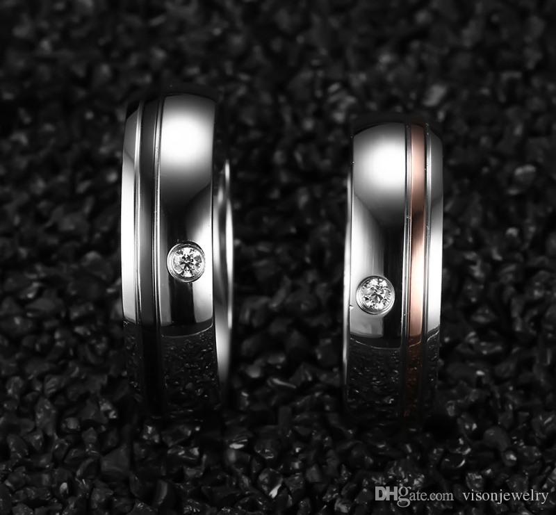 Бесплатная лазерная гравировка 6мм хрустальные двухцветные обручальные кольца из нержавеющей стали