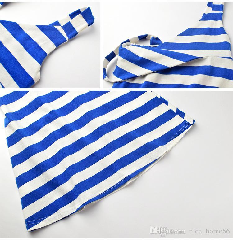 Striped Sleeveless Girl Dress Summer Girls Beach Dresses V-neck Children Casual Dress Kids Summer Clothing