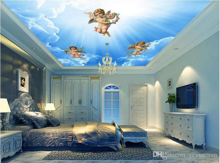 Европейские обои магнолии 3D обоев потолка типа 3D стереоскопические для обоев стен спальни для потолков