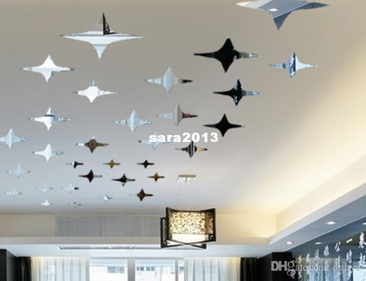 One Set Twinkle Star Mirror Wall Sticker Ceiling Decorarion Decal 1mm Thick  Ps Plastic Mirror Home Decor Removable Wall Decor Removable Wall Graphics  From ...