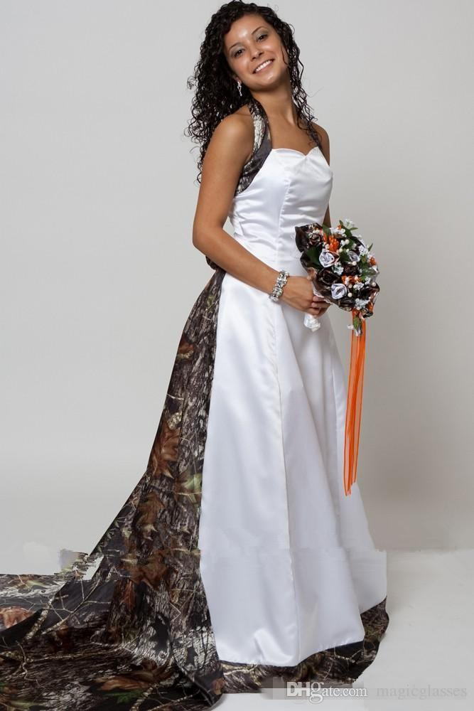 2018 Halter Camo A-Line Wedding Dresses With Detachable Chapel Train Long Formal Bridal Gowns Custom Made