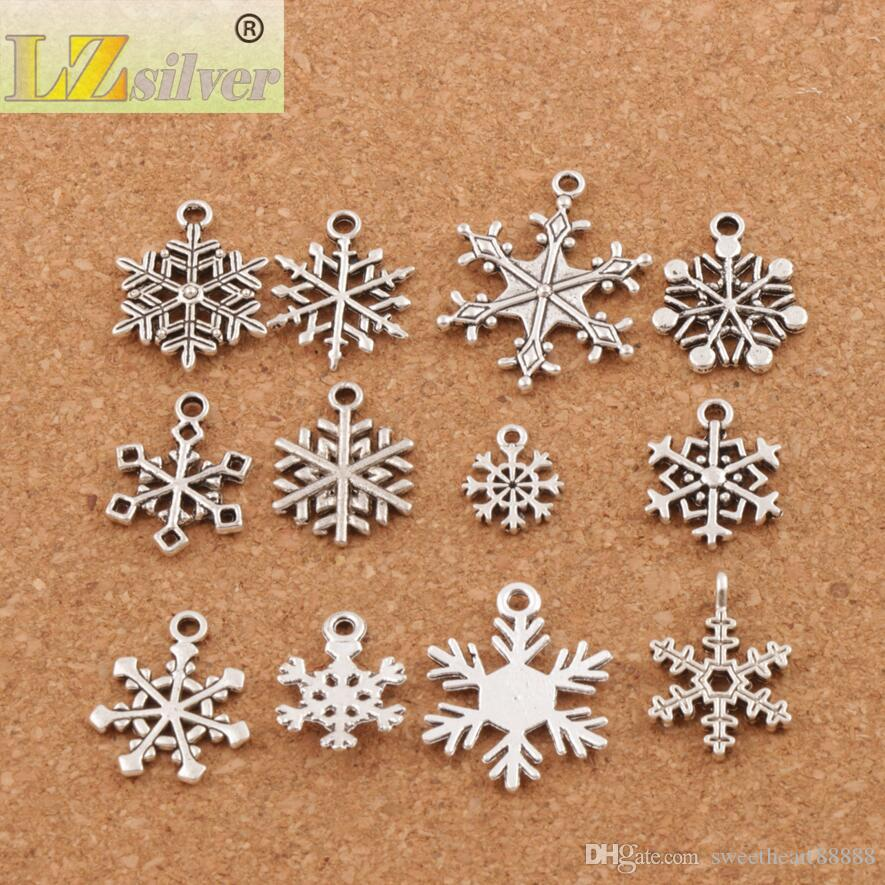 Christmas MIXED Snowflake Charms Antique Silver Pendants Jewelry DIY L770 L738 L1607 L742 Fit Bracelets Necklaces LM38