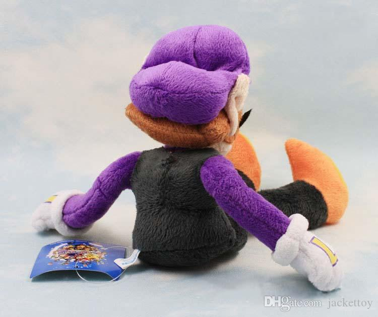 High quality 28CM Super Mario Bros Waluigi Plush Toy Purple Color Stuffed Soft Dolls Kids Gift