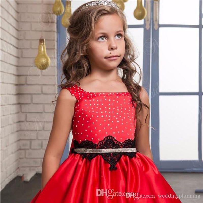 Tutu Robe De Bal Rouge Fleur Fille Robes Sur Mesure 2017 Satin Élégant Appliques Romantiques Enfant Robe De Noël Arc Filles