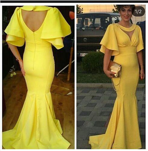 Großhandel Gelb Kleid Sexy Keyhole Nähen Hals Mermaid Abendkleid ...