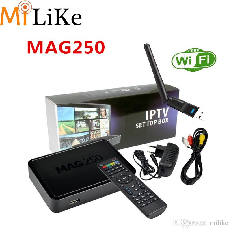 Iptv Set Top Box USB wifi Mag 250 Linux System Iptv europe Mag250 wifi  Linux TV Box 256M Same With Mag254 Media Player