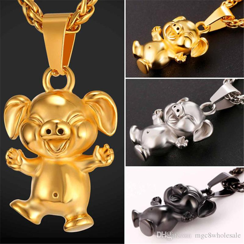 Wholesale u7 new cute cartoon pet pig pendant necklace collier wholesale u7 new cute cartoon pet pig pendant necklace collier stainless steelgoldblack gun plated menwomen animal lucky happy jewelry gp2463 unique mozeypictures Gallery