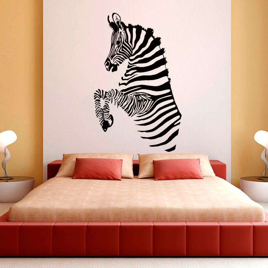 Zebra Stripes Wall Decals African Wild Animals Living Room Wall - Zebra stripe wall decals