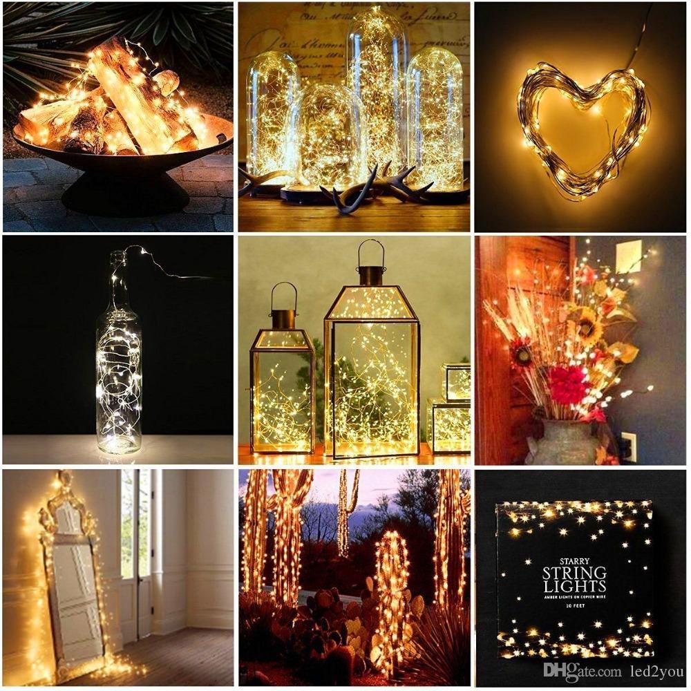 2M 3M 5M LED Fata String Lights a pile variabile Firefly Micro String Light Filo di rame centrotavola di nozze Ringraziamento