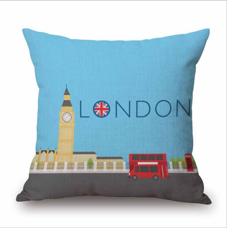 Eco-Friendly I Love UK Cotton Linen Pillowcases Throw Pillow Covers UK Flag Printed Pillow Case Cushion Covers 18*18 inches