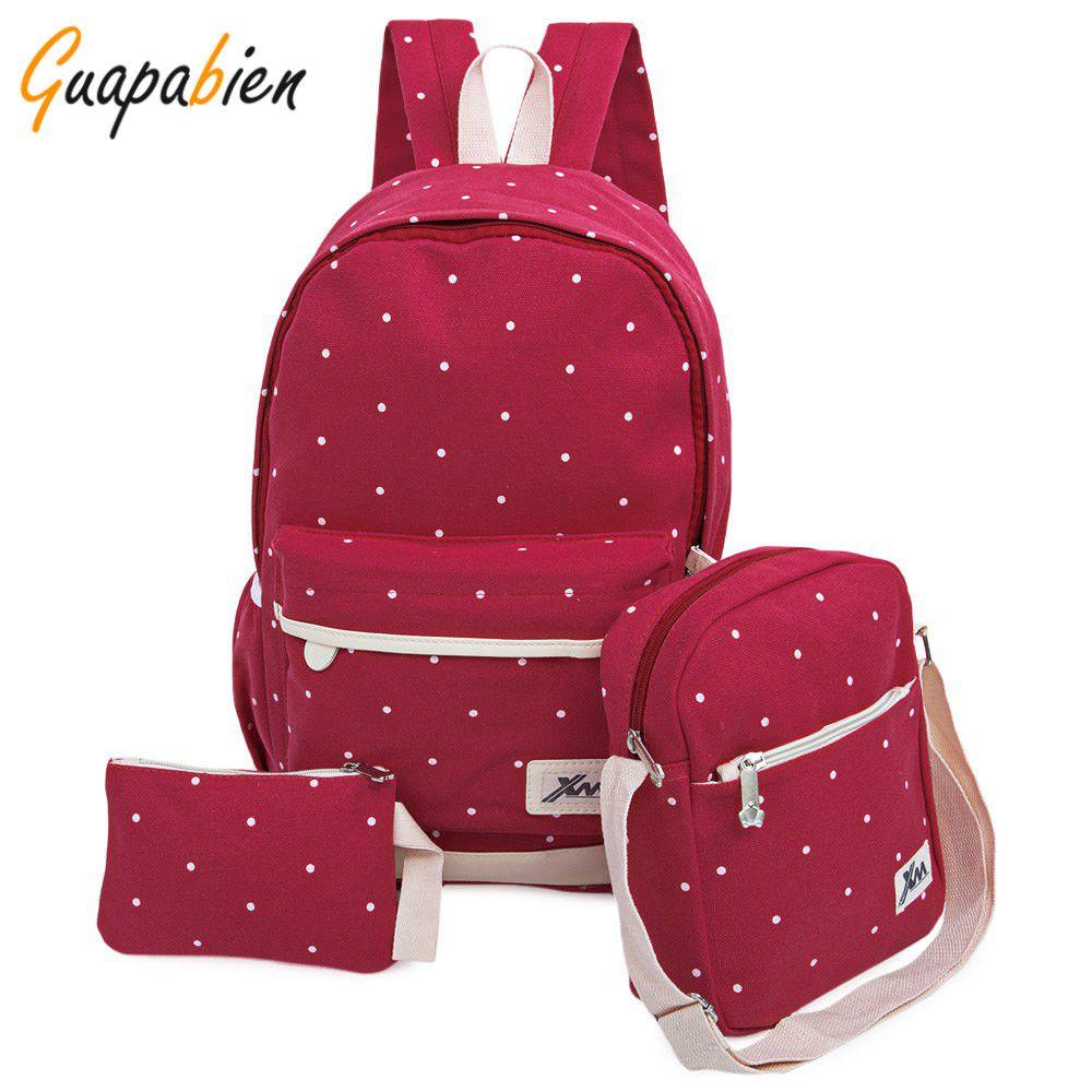 Wholesale Guapabien Casual Korean Dot Print Canvas Backpack Girl Teenage  School Bags Preppy Style Women Travel Bag Set Rucksack Pink Backpacks  Daypack From ... f14868de68a96