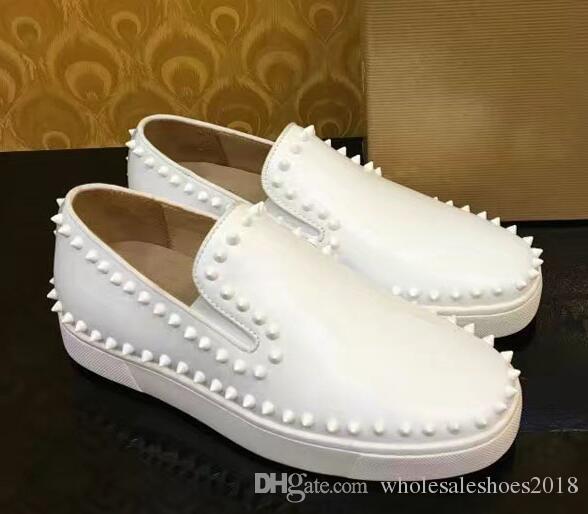 أحذية عالية الكعب من جلد الغزال الأبيض / الأسود 2017 جديدة للرجال والنساء أحذية منخفضة الأعلى مع أسفل لينة ، جلد طبيعي الحجم: 36-46