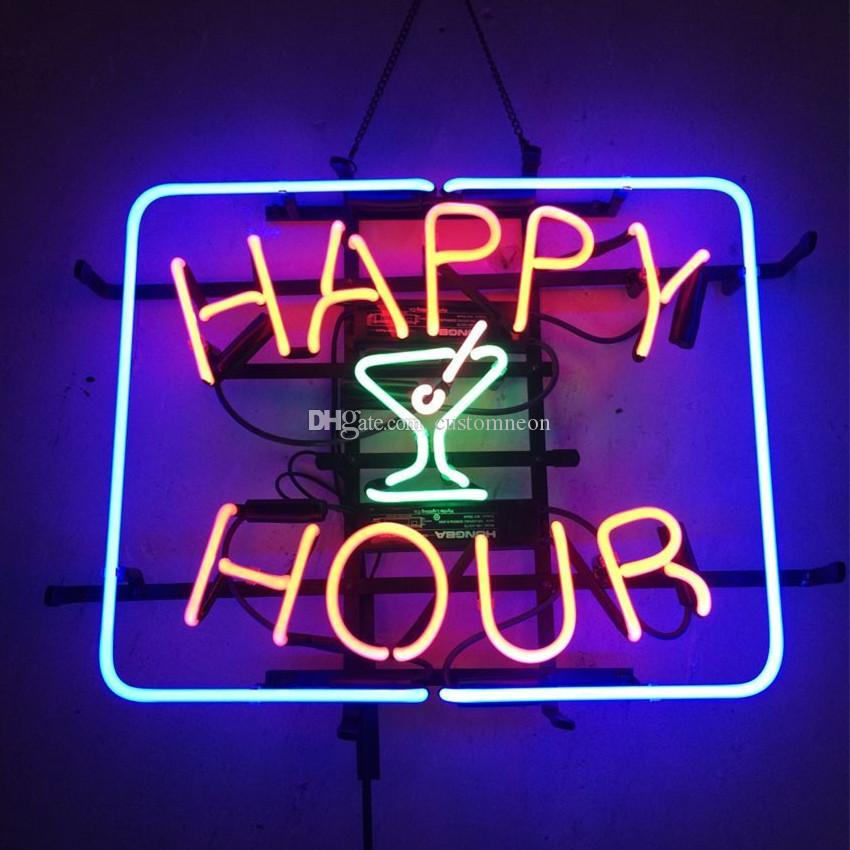 2019 17x14 happy hour cocktails neon sign bar wall display. Black Bedroom Furniture Sets. Home Design Ideas