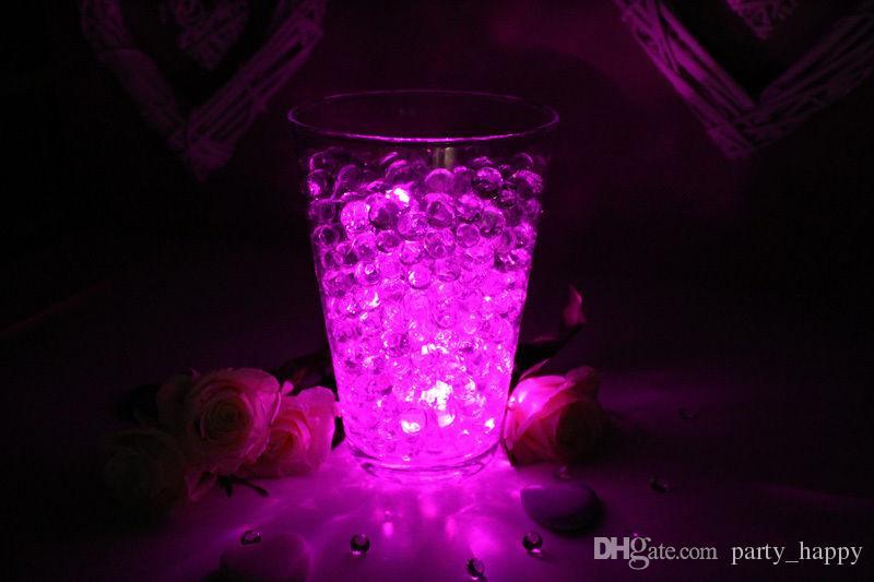 Decoración de mesa de boda Mesa central Mesa de luz LED con aguamarina Cristales Lámpara circular impermeable Lámpara de Navidad Iluminación led