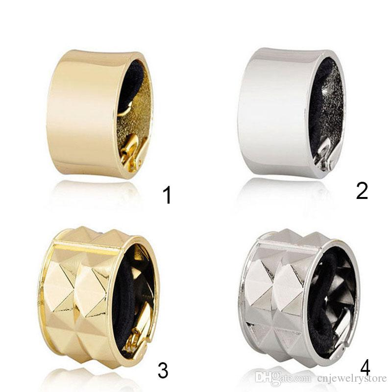 Hot Fashion Promotion Metal Hair Band Round Trendy Punk Metal Hair Cuff Stretch Ponytail Holder Elastic Rope Band Tie for Women