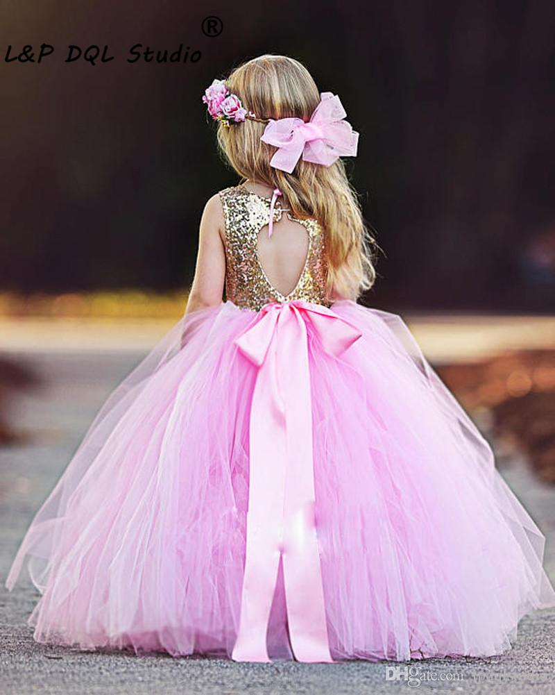 Pink And gold Sequined Flower Grils Dresses Scoop Open Back Ball Gown Floor Length Soft tulle Girls Party Dresses Champagne,Mint Cheap