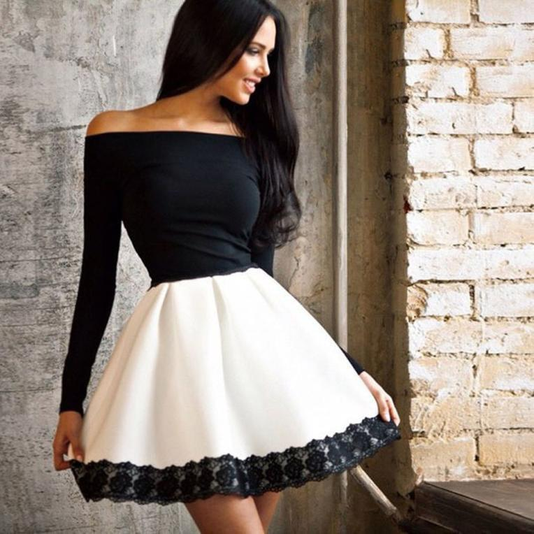 Womens Long Sleeve Casual Clothing Winter Spring Dresses Ladies Sexy Off The Shoulder Ruffle Mini Dress Vestidos Plus Size