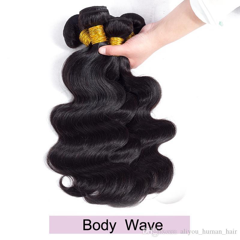 Onda peruana brasileña de la onda de agua profunda Armadura 6 o 10 paquetes Onda del cuerpo indio Extensiones rizadas rizadas del pelo de Remy Cabello humano