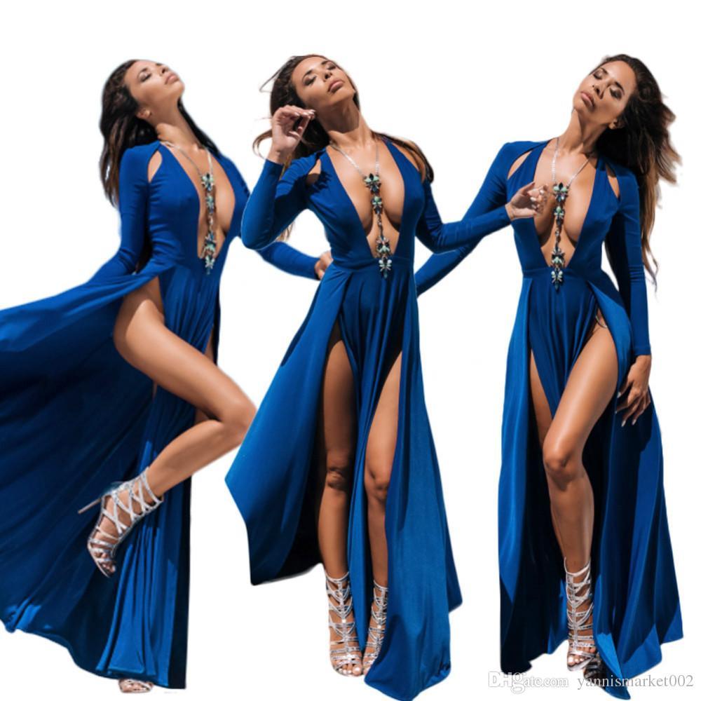 750694f37 Compre 3 Cores Plus Size S ~ 3xl 2018 Moda Verão Mulheres Sexy Longo Dress  Alta Fenda Maxi Vestidos De Decote Em V Profundo Beach Club Dress Lb9476 De  ...