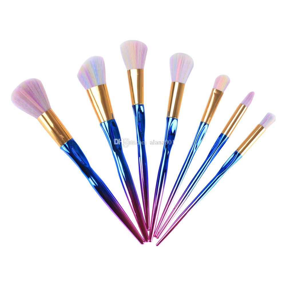 Spazzola blu brillante della scanalatura di colore del corredo / set della spazzola dell'ombretto del fondamento dell'insieme di pennelli del nuovo di trucco Trasporto libero