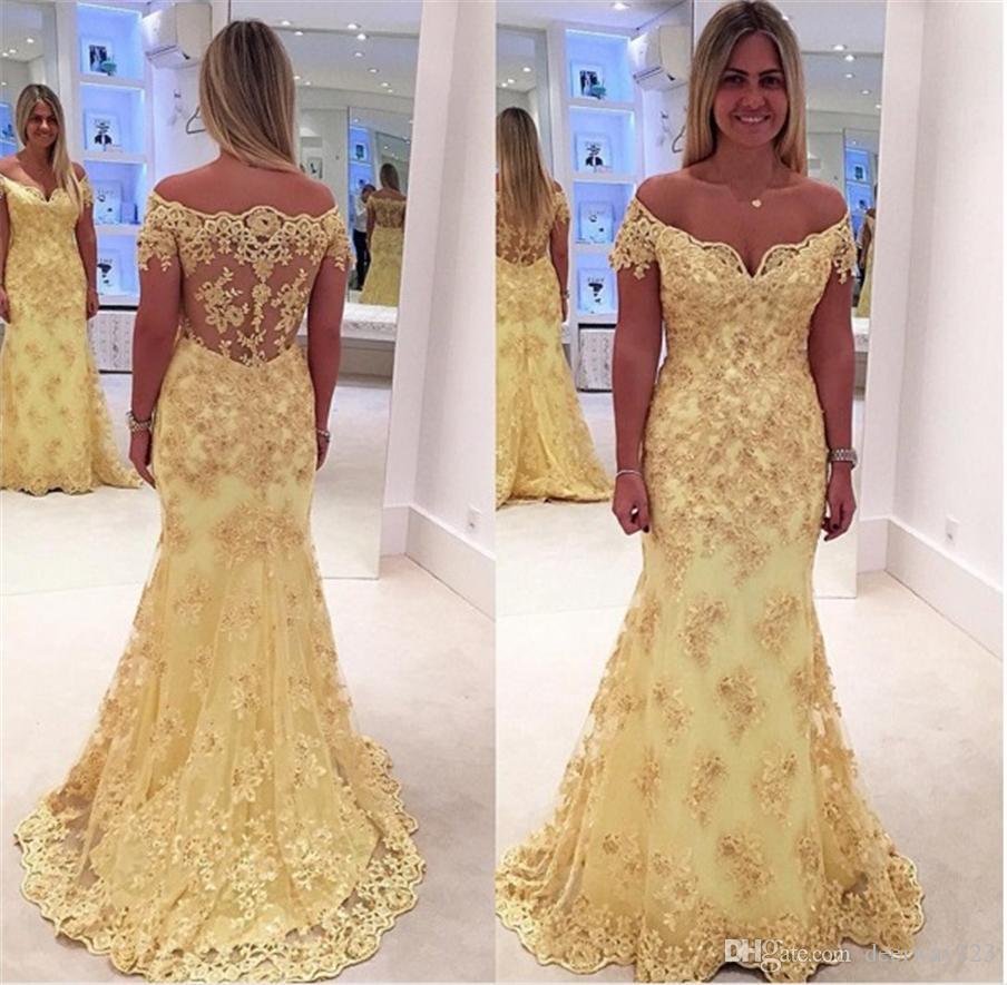 low priced 96376 3c023 Mermaid lungo pizzo giallo elegante maniche corte abiti da cerimonia  formale Abiti al largo della spalla abiti da cerimonia Abiti Da Cerimonia  Da Sera