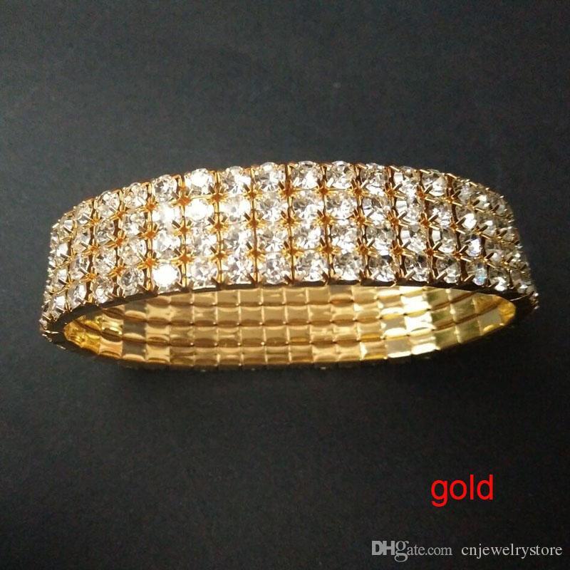 12 Stück 4 Reihe Crystal Diamante Strass elastische Braut Armreif Stretch Großhandel Hochzeit Zubehör für Frauen