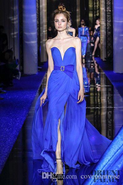 2017 Nuovo Zuhair Murad Couture Blue Split Abiti da sera Sweetheart Chiffon Backless Semplice Ultimo abito Design Red Carpet Party Dress