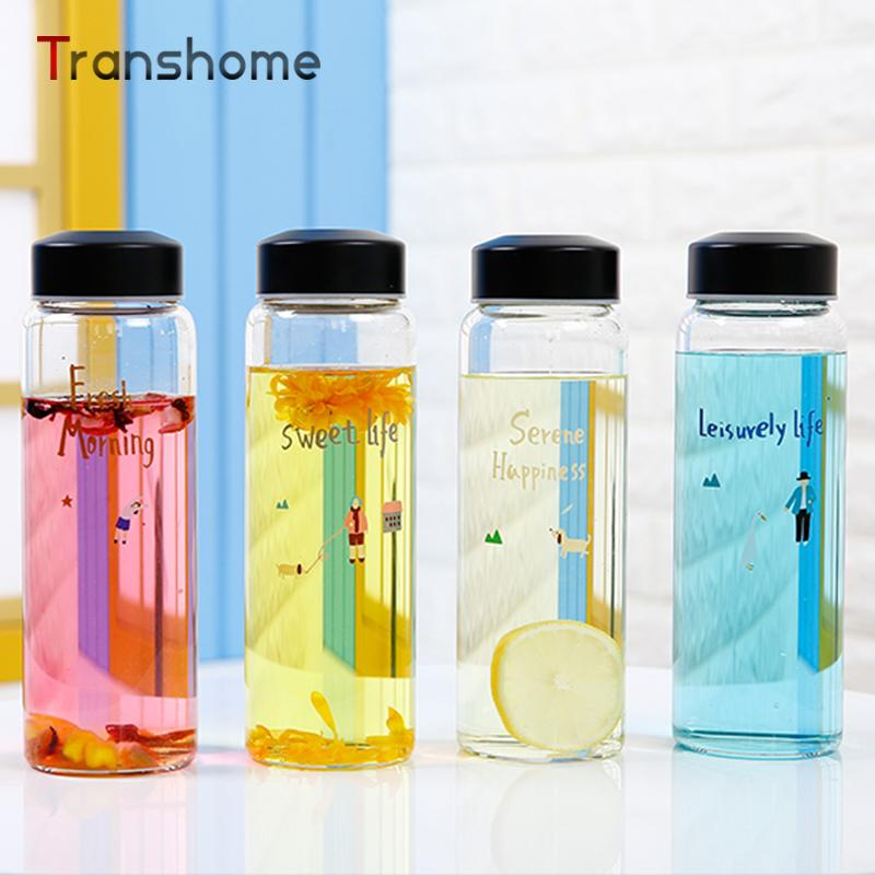 Wholesale New Korean Style Glass Water Bottle 400ml Glass Cup Sport