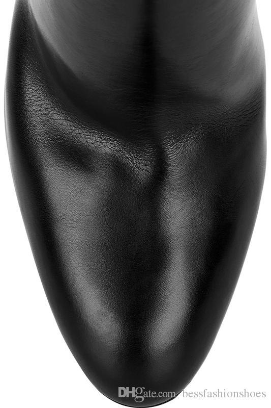 Klassisches Leder Schwarz Oberschenkel Hohe Stiefel Quadratische Ferse Runde Zehe Zip Overknee High Boots Herbst Schuh Mode Motorrad Booties Plattformen Frauen