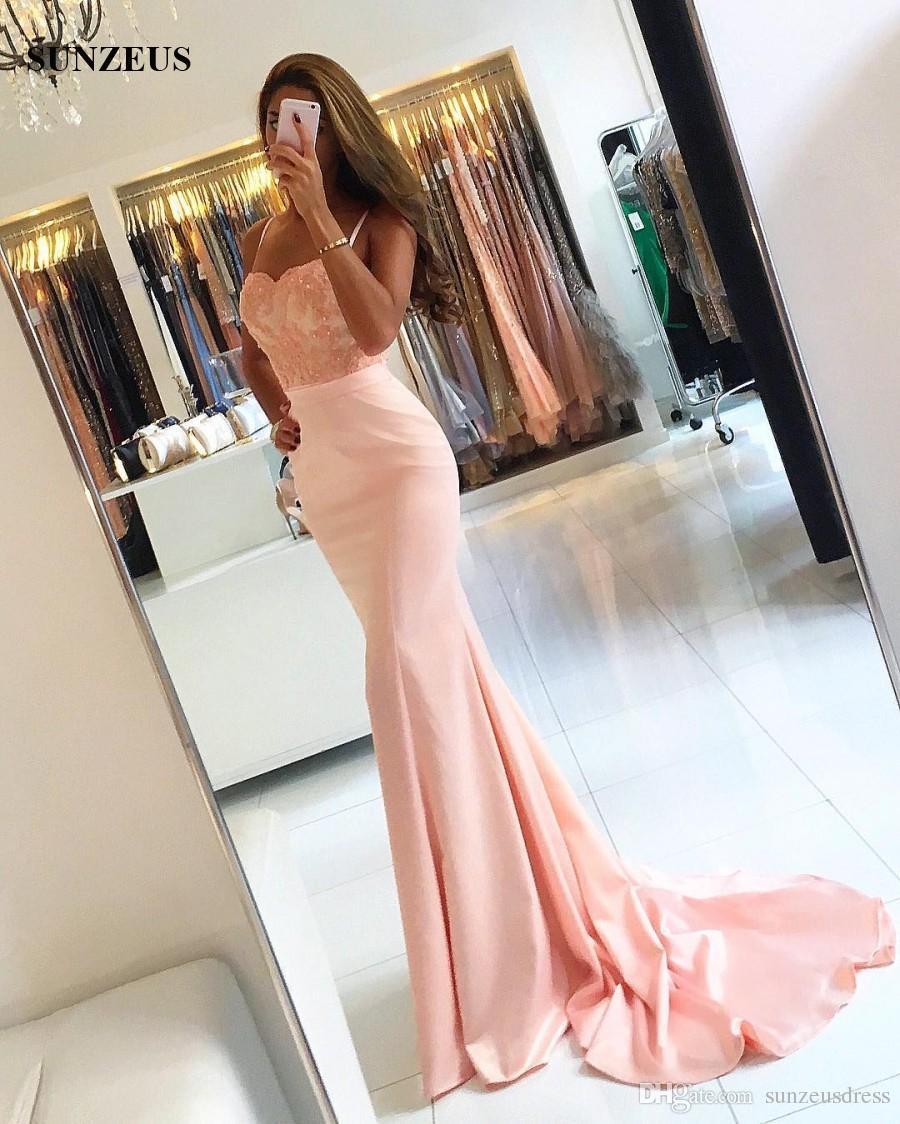Sirene Chérie Bretelles Spaghetti Longues Robes De Soirée Rose Appliques Corsage Dentelle Satin Robes De Soirée Formelles robe de soiree longue