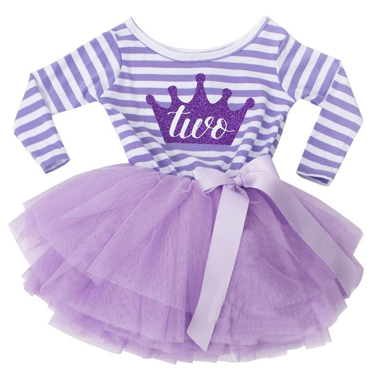 2019 Autumn Baby Girl 1 2 Years Birthday Outfits For Infant Kids Party Wear Clothing Stripe Toddler Dress Princess Tulle Clothes From Bosiju