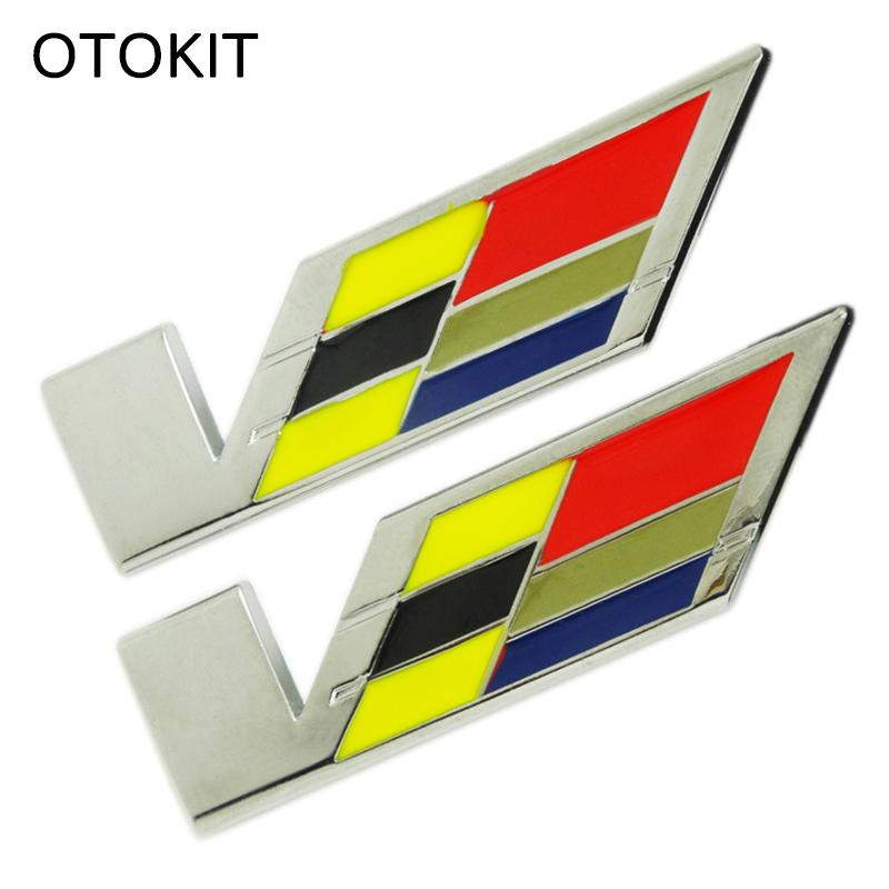 1PC Metal 3D Car Tail Badge Emblem V Logo Sticker for Cadillac SRX XTS ATS CTS ATSL Modified Car Decoration Sticker Decal