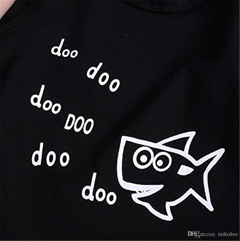Mikrdoo Hot Baby Sommer Anzug Neugeborenen Kinder Jungen Kleidung Set Doo Doo Buchstaben Gedruckt Ärmelloses Tank Top Tops Shark Pants Kurze Baumwoll-Outfits