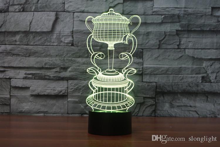 Spedizione gratuita Creativo 3D trofeo tazza LED Night Light i che cambiano tocco Mood Lampada Decor Light For Bar regalo di compleanno