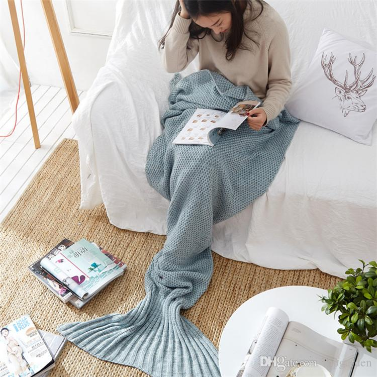 Una pieza de la cola de la sirena Mantas para adultos y el bebé Sirenita manta de lana de cachemira de televisión Sofá la manta hecha punto