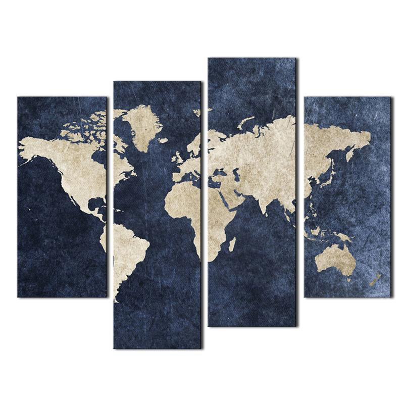 4 panel Map Painting Wall Art Blue Map Painting World Map With Mazarine Background Picture Print On Canvas For Home Modern Decor Unframed