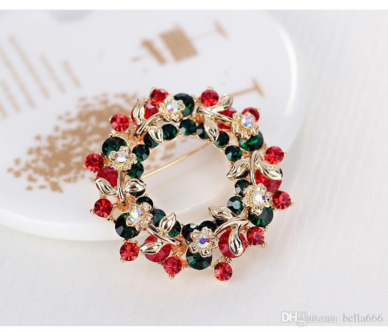 2017 New Fashion Summer Brooch Girl Round Cubic Zircon Scarf Lapel Pins Brooches Women Jewelry Accessories Rosette Corsage Christmas Gift
