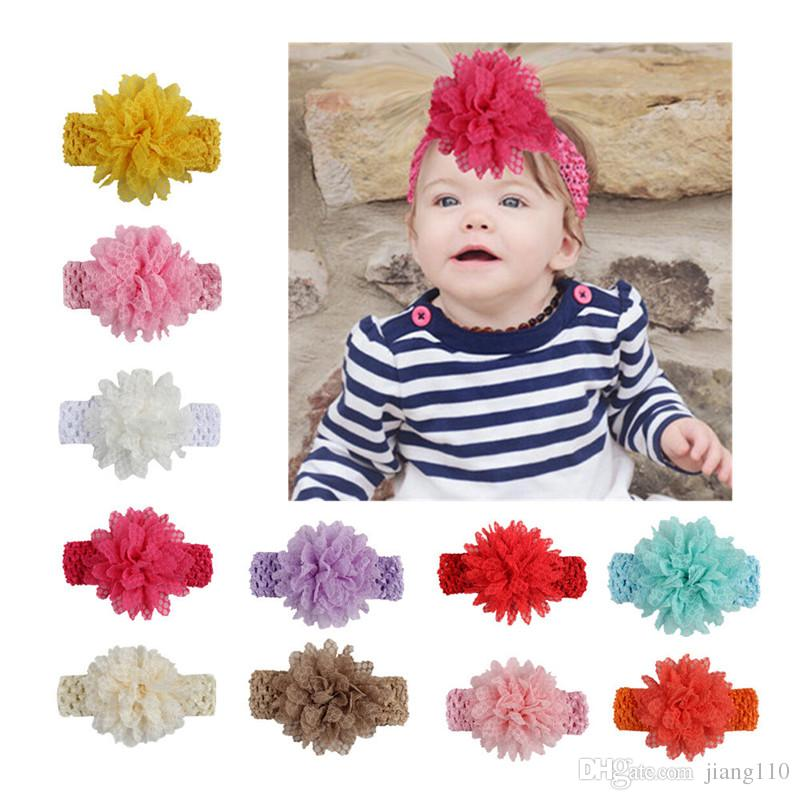 baby Headwear Head Flower Hair Accessories Gauze flower with soft Elastic crochet headbands stretchy hair band