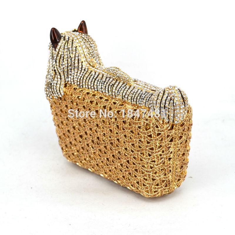 Classic Designer luxury crystal evening bag Animal dog women evening purse bags ladies Day Clutches bag SC031