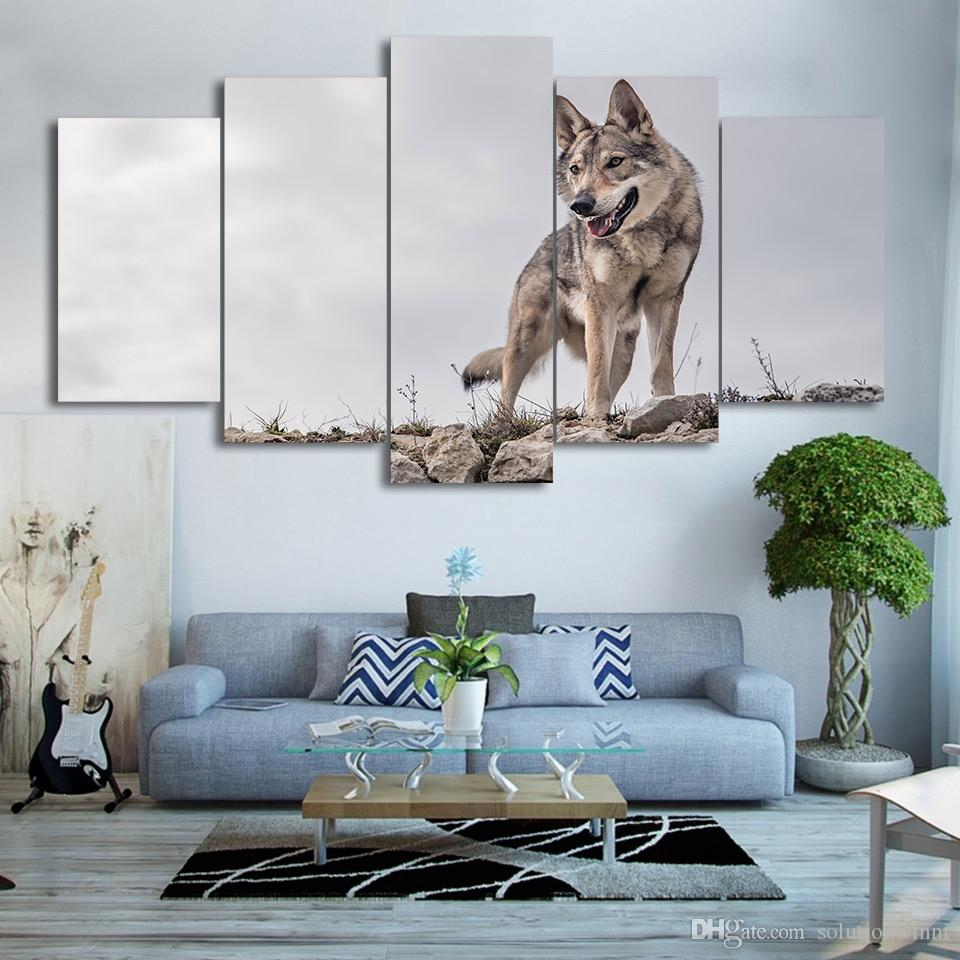 5 Teile / satz Gerahmte Gedruckt Wild Wolf Malerei Tier Poster Moderne Home Wanddekoration Druck Malerei Leinwand Wandbild