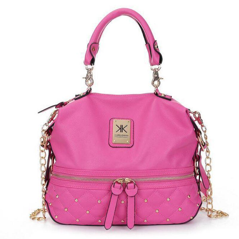 Comercio al por mayor Kim Kardashian Kollection KK Bolsa de diseñador de moda Marca Bolsos Bolsos Mujeres Remache Moda Bucket Cadena de oro Bolsas de mensajero