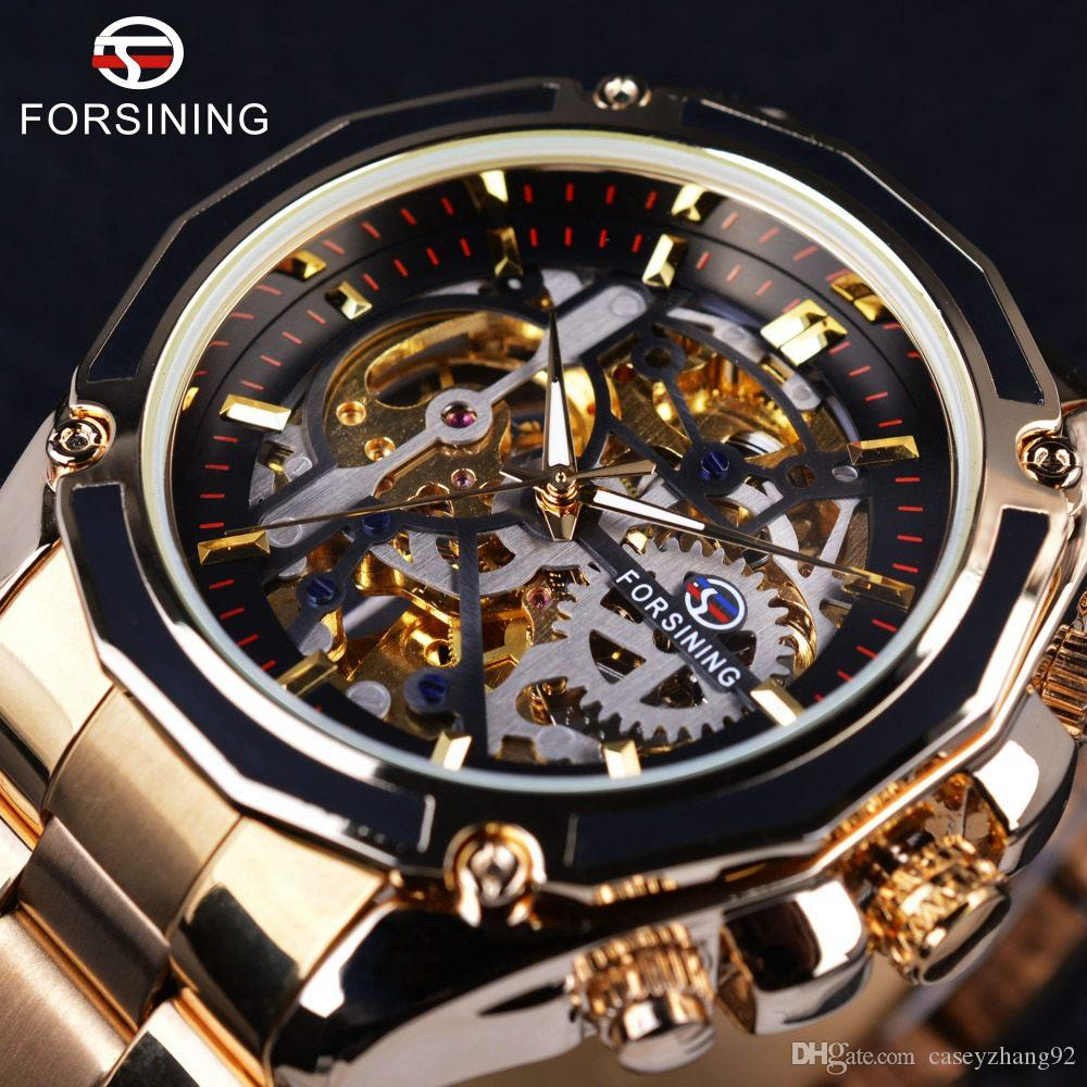 Forsining Mechanical Steampunk Design Fashion Business Dress Men Watch Top  Brand Luxury Stainless Steel Automatic Skeleton Watch Shop Watches Online  ... 1dc318646af