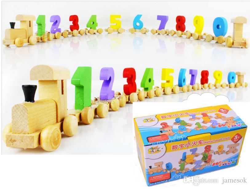 Holzspielzeug Buntes hölzernes digitales Zug pädagogisches Spielzeug für