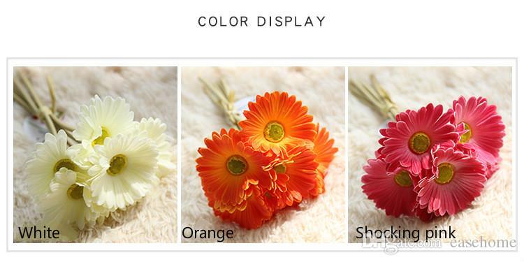 Ramo de gerbera flor de seda artificial para la decoración del hogar ramo de narberton daisy hecho a mano de la boda