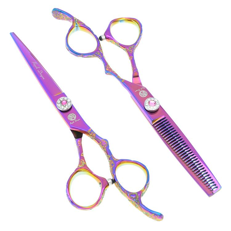6.0Inch 2017 Purple Dragon New Arrival Hair Scissors Kit Cutting & Thinning Hair Shears Hairdressing Scissors Set LZS0287