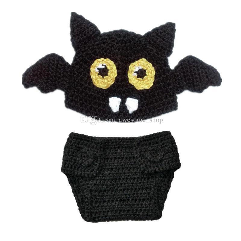 Traje de murciélago de punto recién nacido, hecho a mano de ganchillo bebé niña Bat Animal Beanie Hat y conjunto de cubierta de pañal, accesorios de foto de traje de Halloween infantil